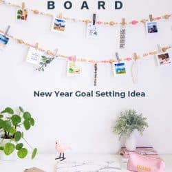 Vision board in the form of a wood bead garland
