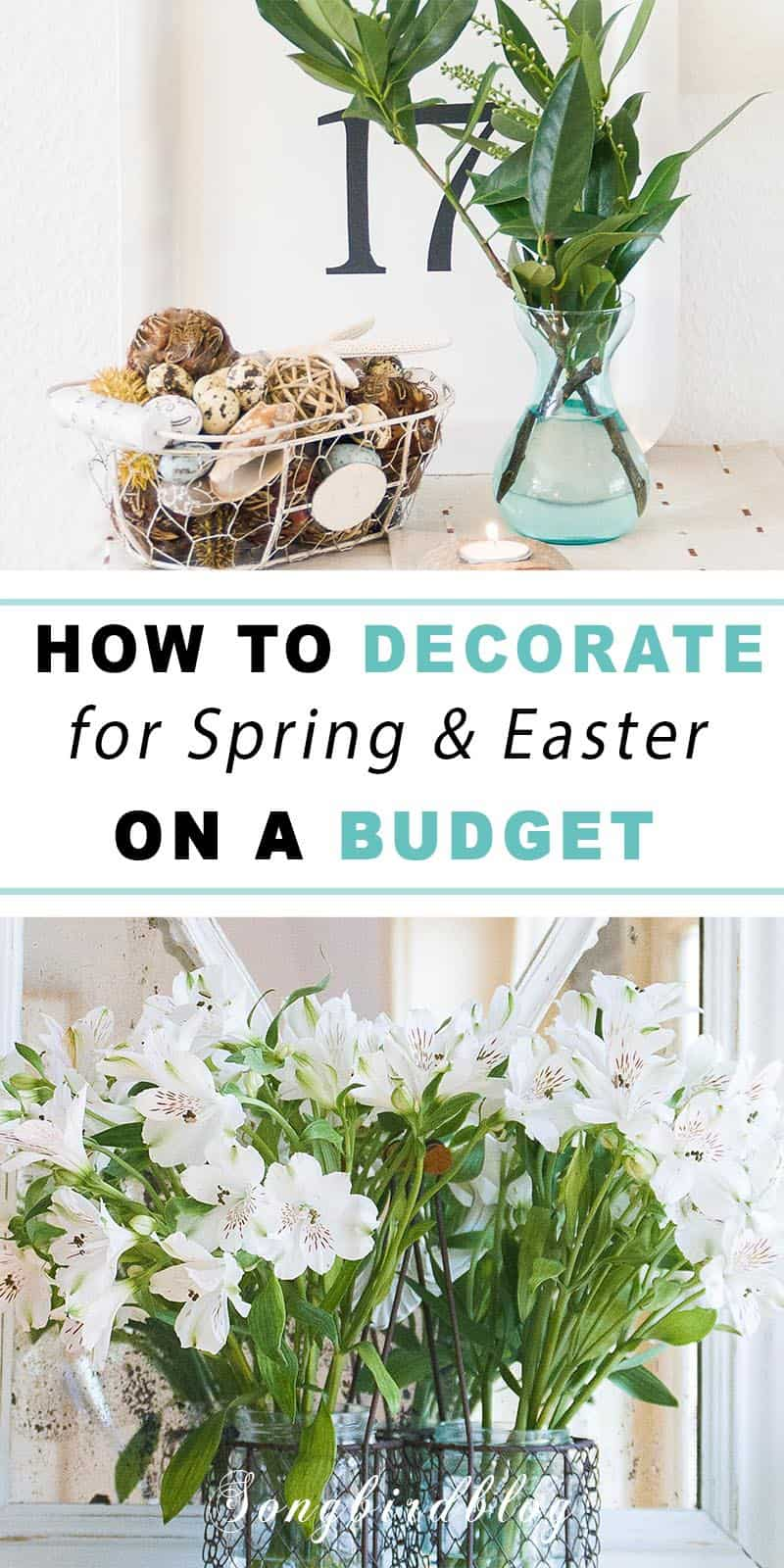 Collage image for decorating on a budget for Spring