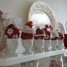 personalized Christmas decorations in red white in the kitchen