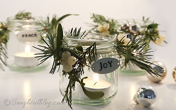 glass jar lanters Christmas decorations (2)