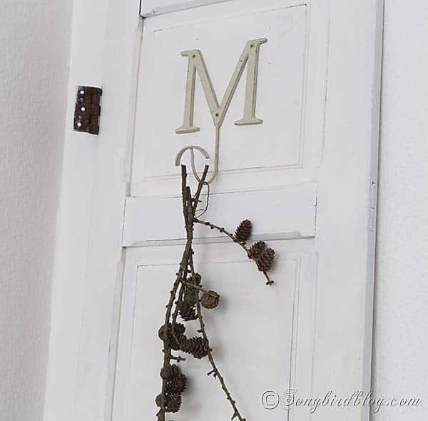 decorative vintage door painted with milk paint Fall Decoration via Songbirdblog