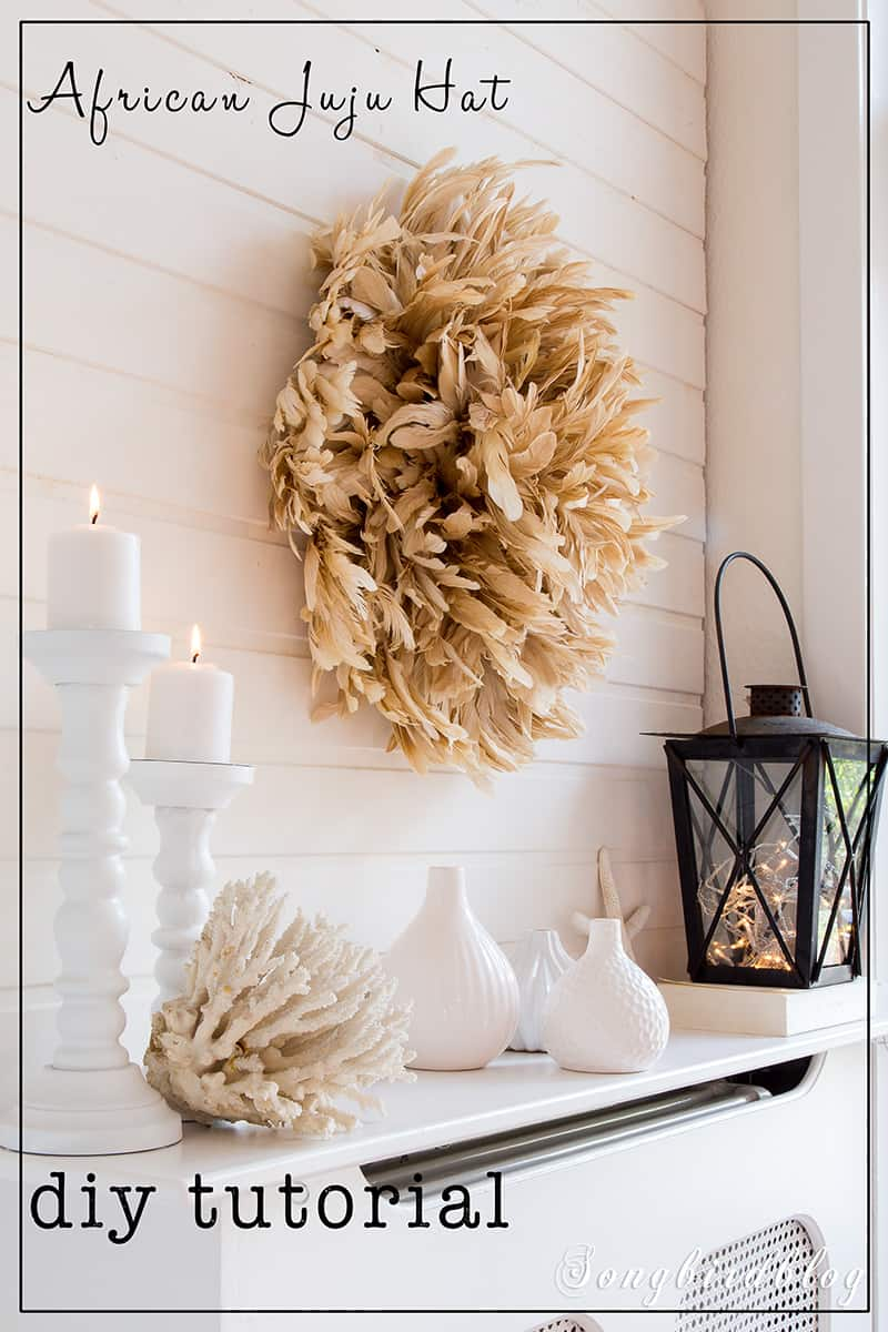 neutral decor with homemade feather wreath juju hat