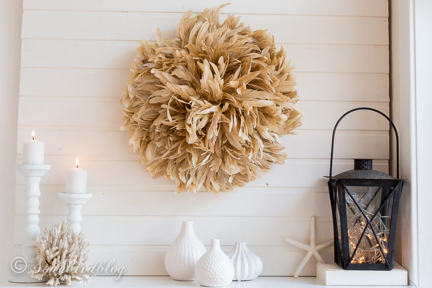 African juju hat diy mantel decoration with feather wreath