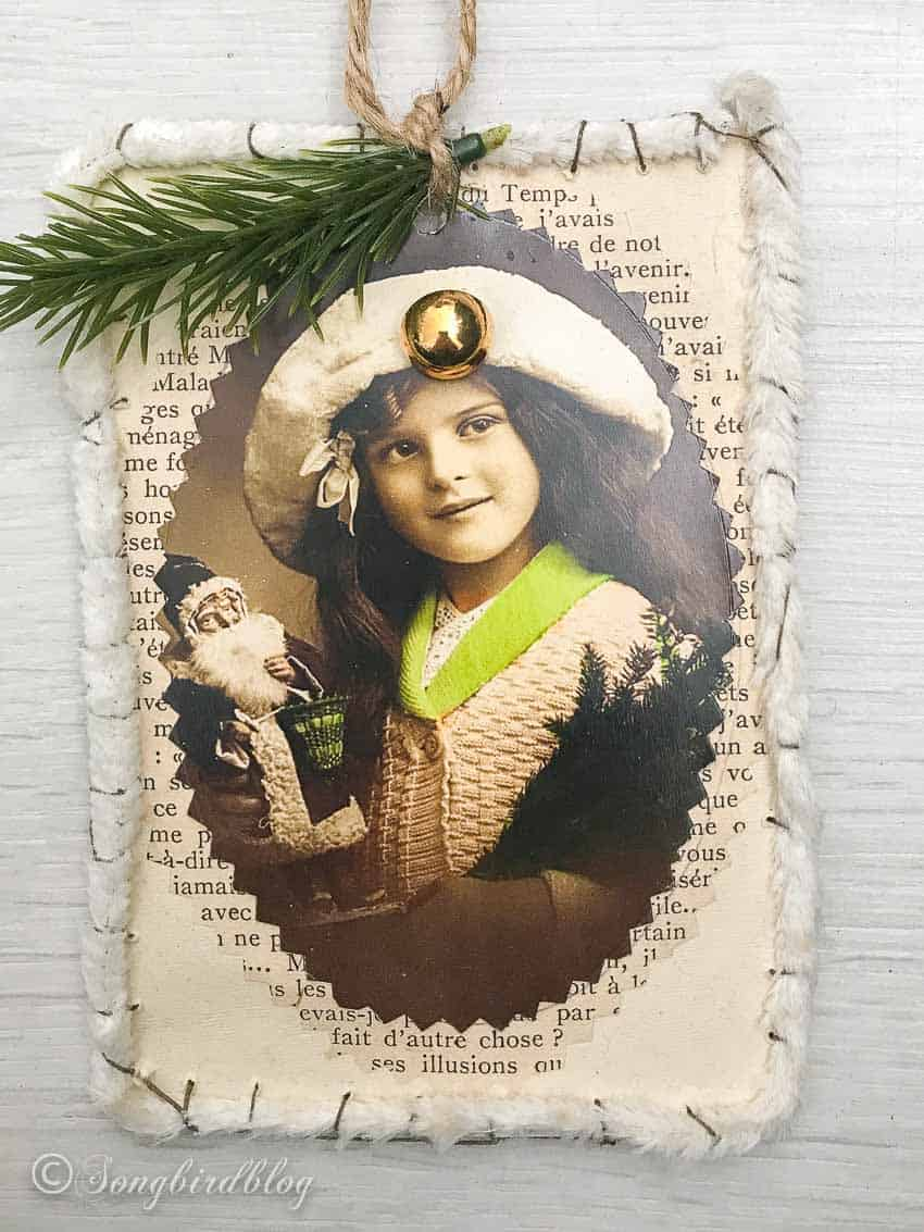 Victorian Style French Postcard Christmas Ornament