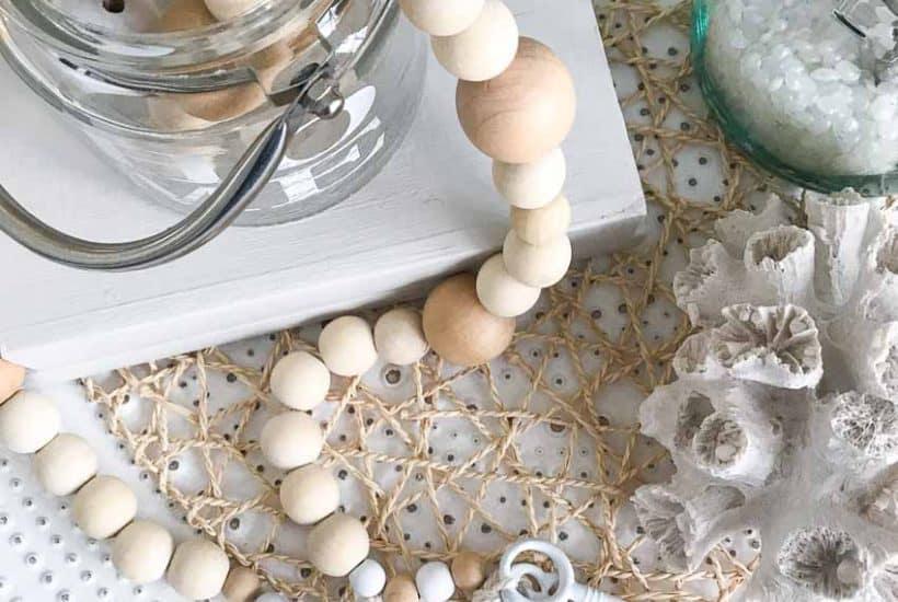 diy wood bead garland with tassels and skeleton keys