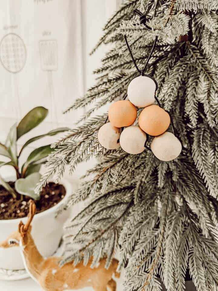 Christmas tree shaped ornaments from wooden beads