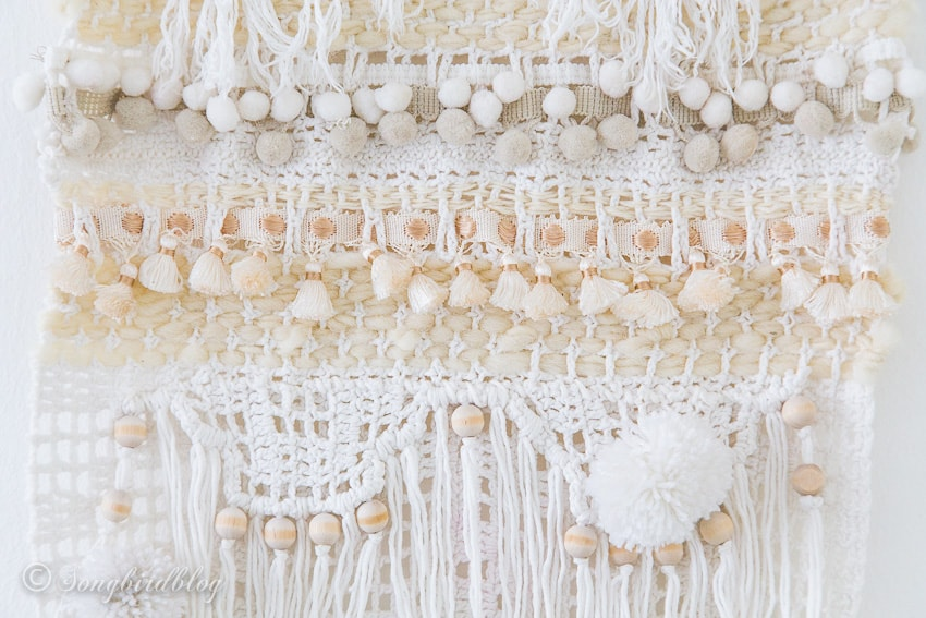 close up DIY wall hanging
