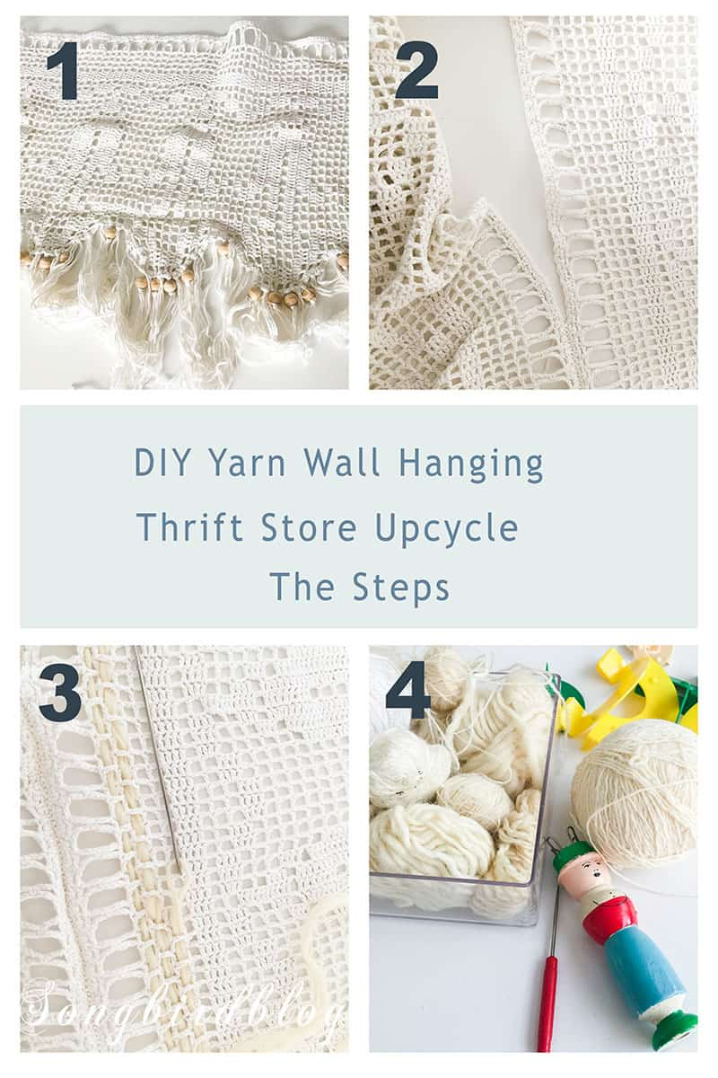 collage with four steps to create a unique boho wall hanging