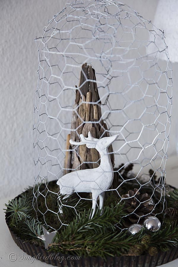 driftwood Christmas tree with deer under chicken wire cloche Christmas decoration 3