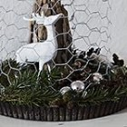 driftwood Christmas tree with deer under chicken wire cloche Christmas decoration thumb S