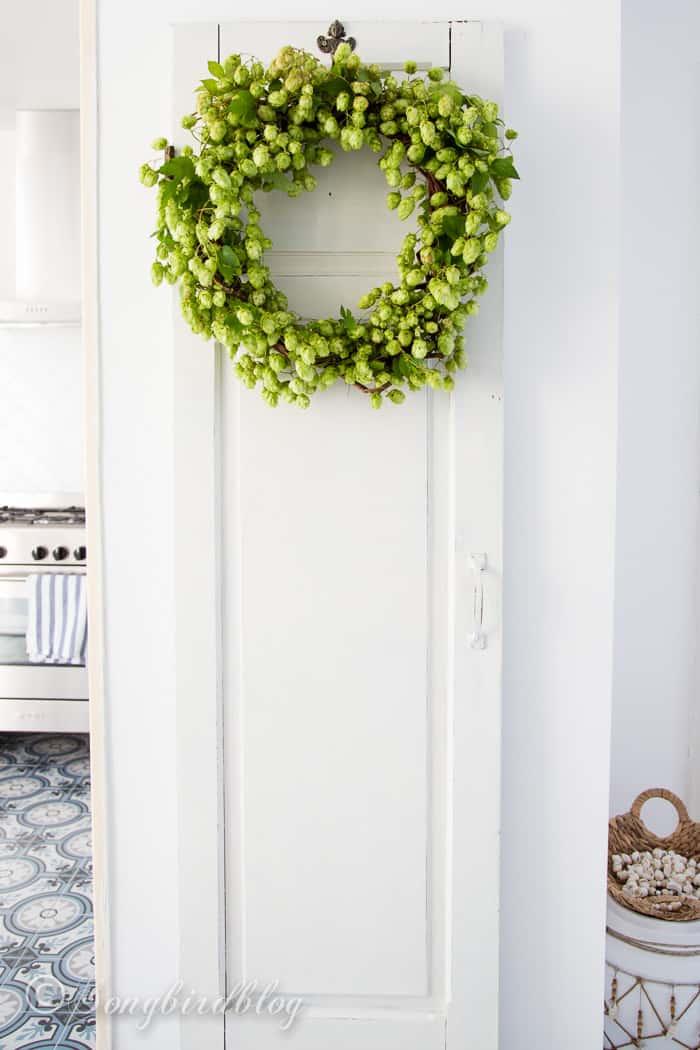 Fall hop wreath display