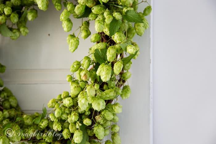 Fall hop wreath detail