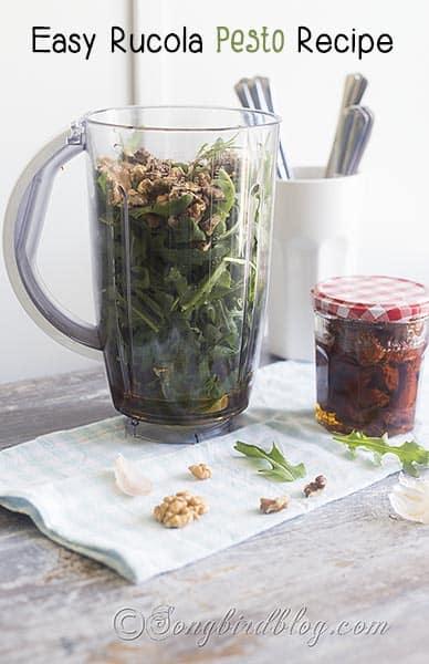 easy rucola walnuts pesto recipe via Songbirdblog