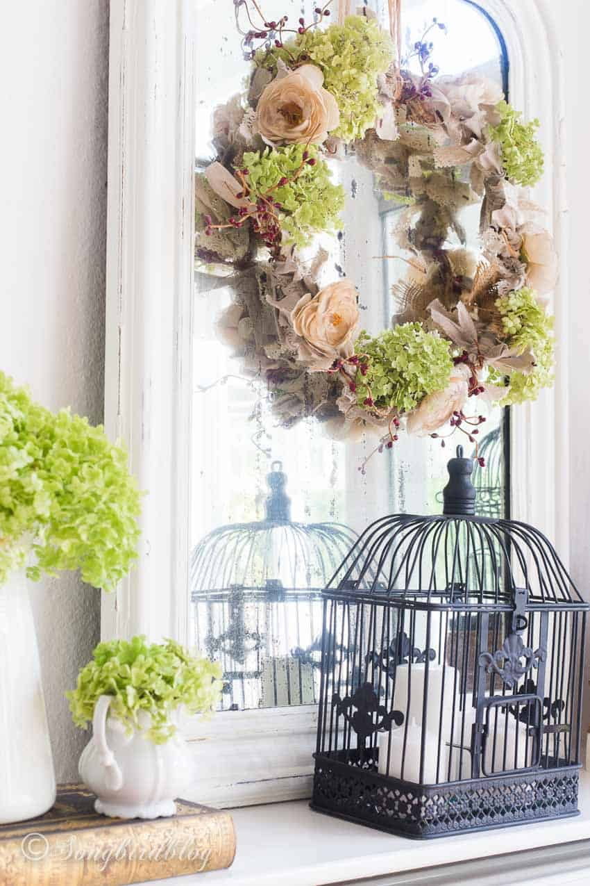 romantic fall decorations with fall bird cage decor
