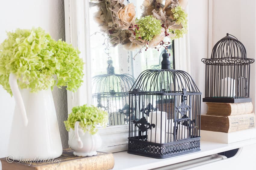 Vintage mirror and bird cages fall fireplace decor