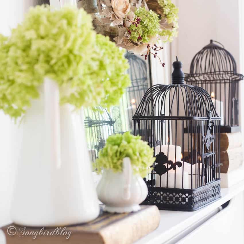 fall bird cage decor fireplace