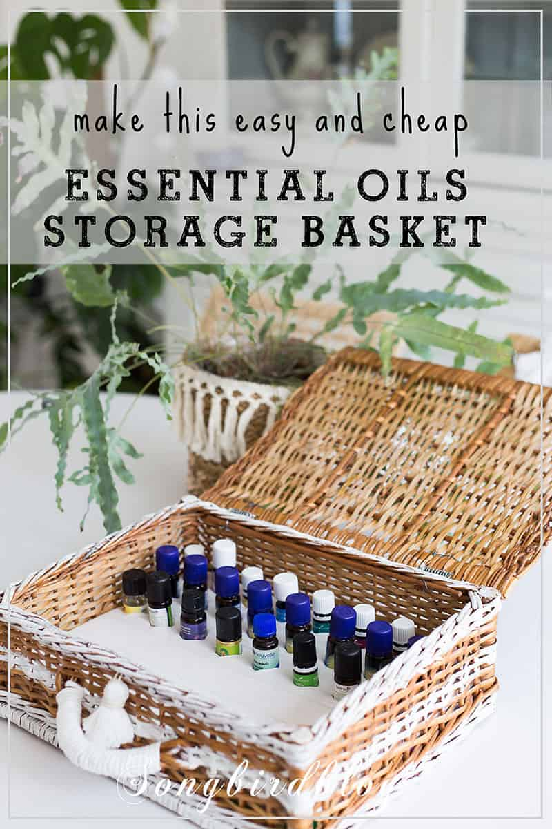 essential oils bottles in storage basket