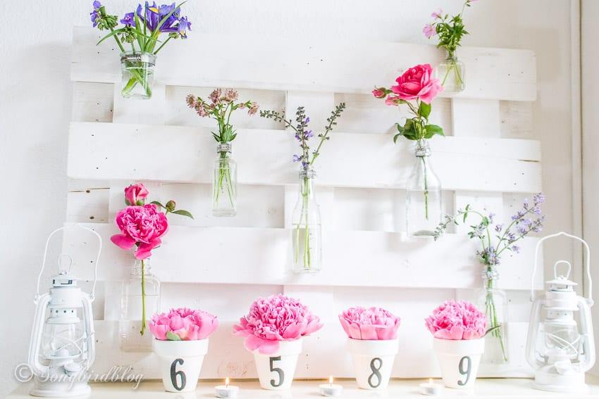 everyday mantel decor pink flowers