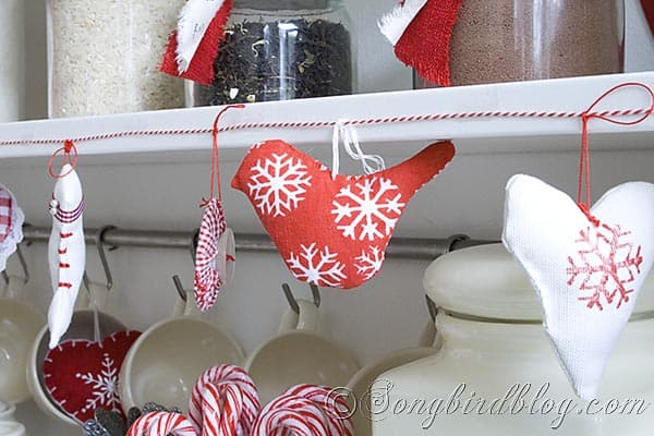 red fabric bird ornament Christmas