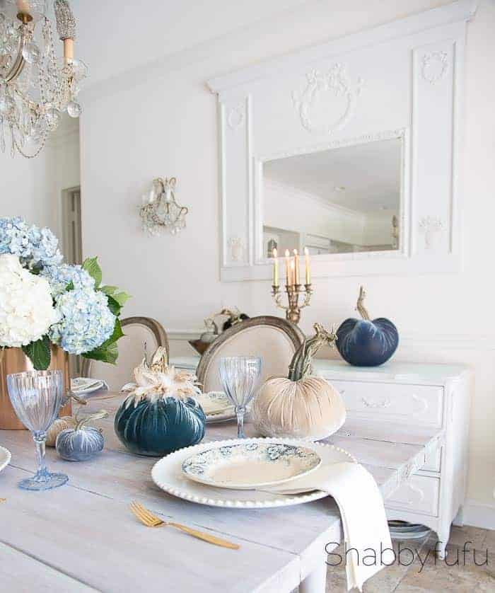 Farmhouse Fall table setting with lush, velvet pumpkins