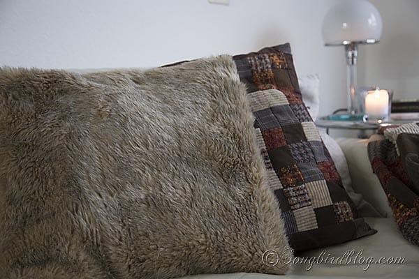 faux fur pillows via Songbirdblog 1