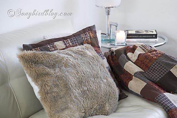 faux fur pillows via Songbirdblog 2