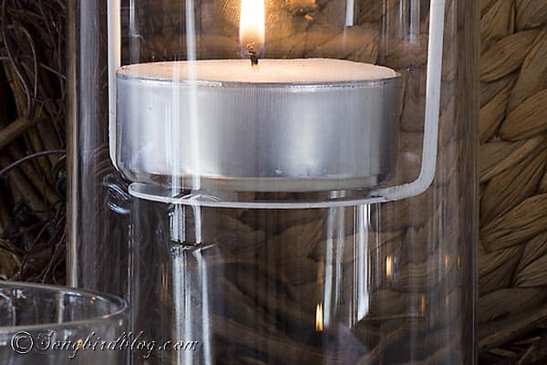 Repurpose part of an old  lamp shade into this easy and fun floating tea light holder. Via http://www.songbirdblog.com