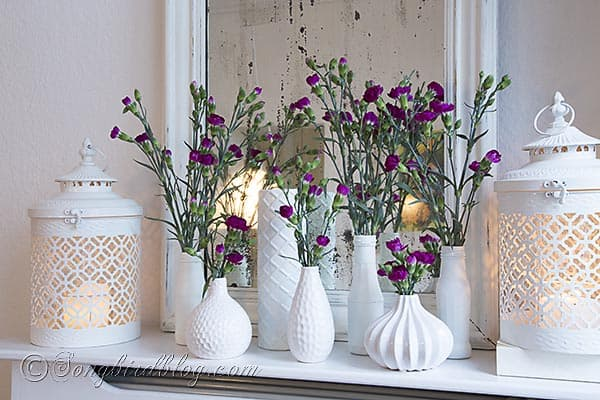 flower mantel decoration via Songbirdblog 2