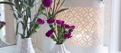 white vases, pink flowers, vintage mirror, mantel decoration (4)
