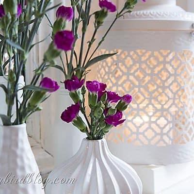 white vases, pink flowers, vintage mirror, mantel decoration (4)
