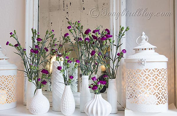 flower mantel decoration via Songbirdblog 6