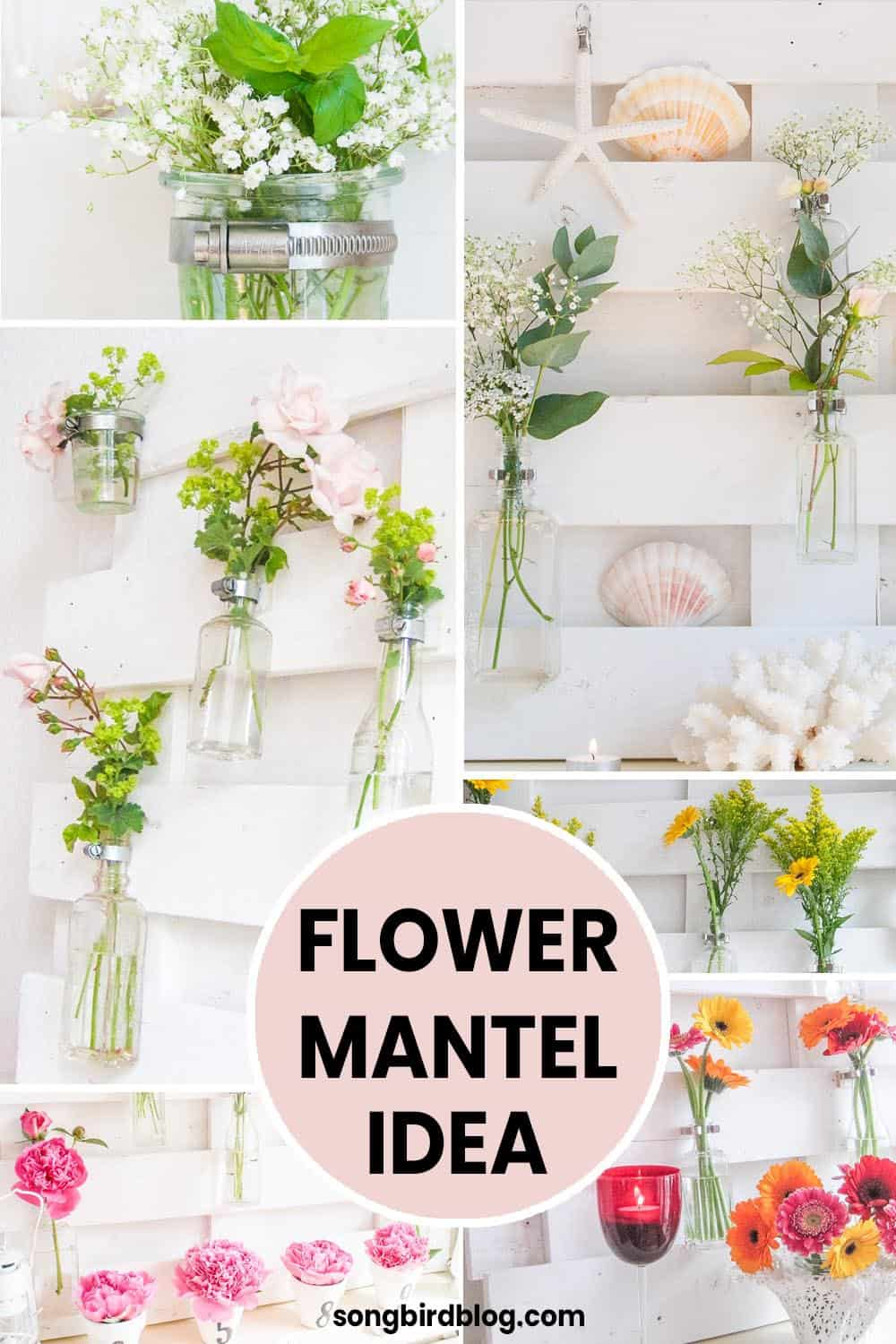 Collage image of everyday mantel decor with flowers