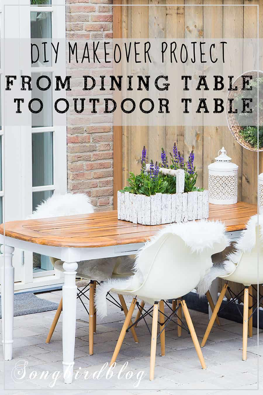 patio with dining table turned into outdoor table