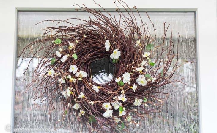 Spring wreath on front door