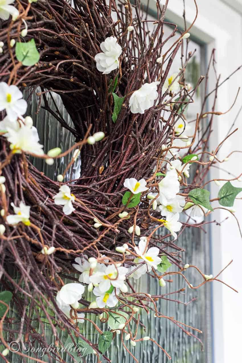 twig wreath with flowers for Spring