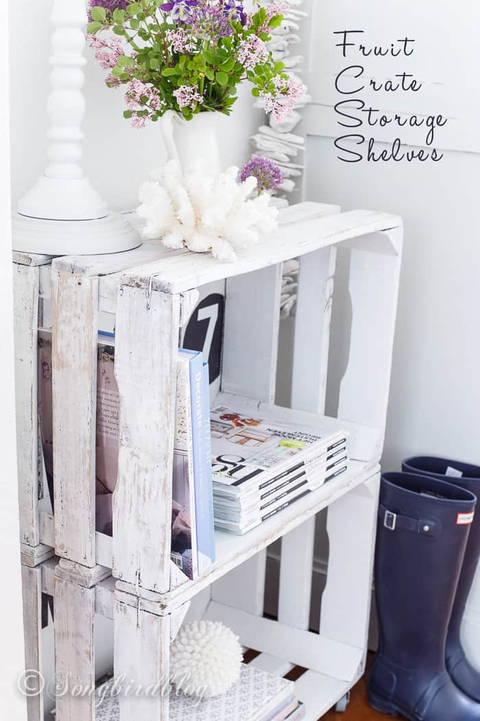 Make these simple junk-style fruit crate shelves and add some more storage space to your home.