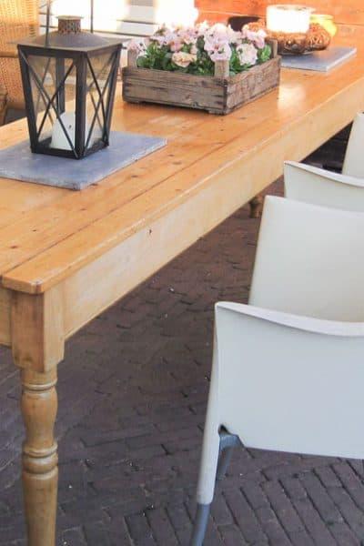 pine garden table