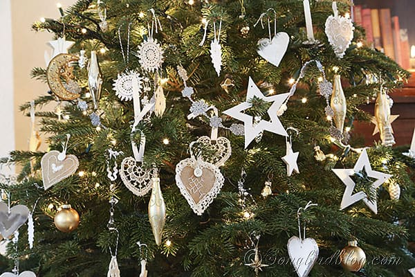 Christmas tree homemade ornaments white, silver and gold (6)
