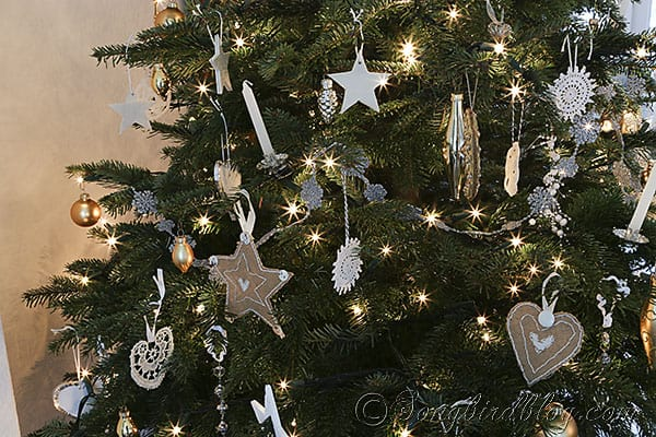 Christmas tree homemade ornaments white, silver and gold (3)