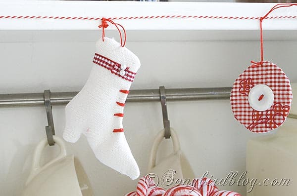 white fabric ice skating ornament Christmas