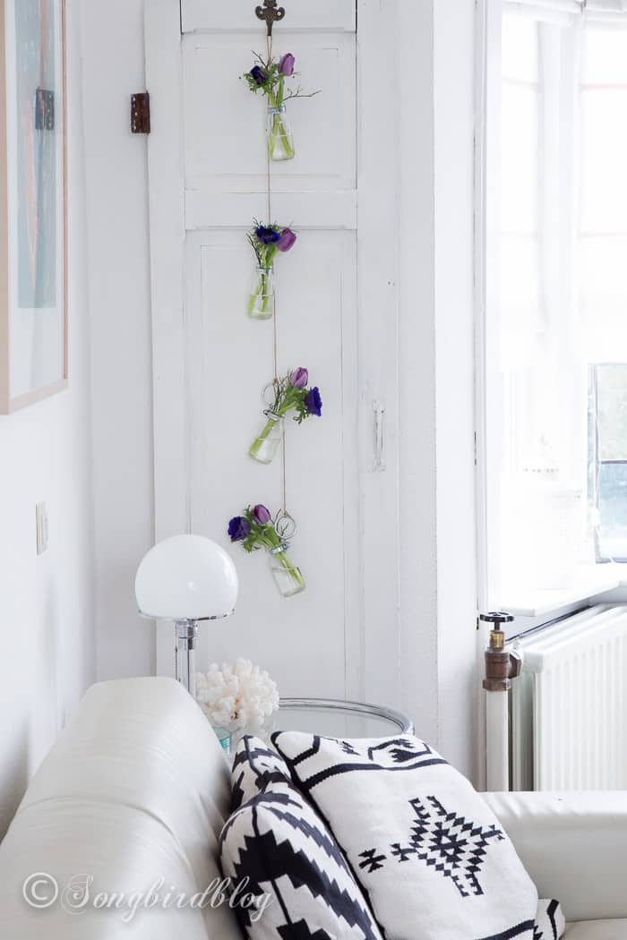 hanging glass bottles craft project flower decoration