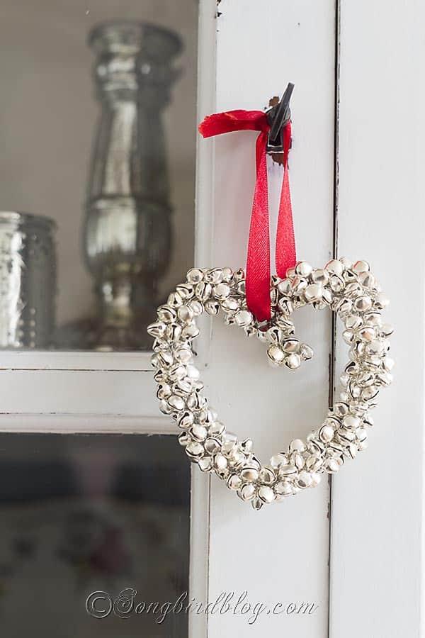 homemade Christmas ornament jingle bells heart