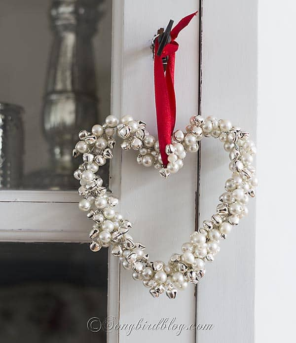 homemade Christmas ornament jingle bells pearls heart