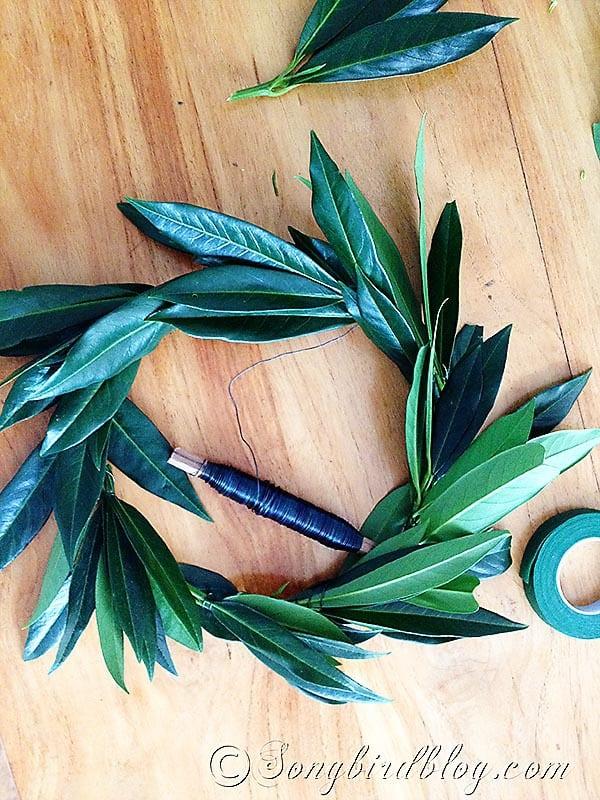 homemade leaf wreath