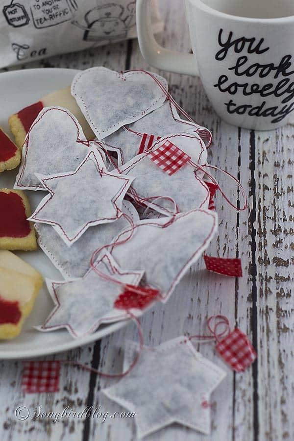 homemade tea bags hearts and stars gift  tutorial