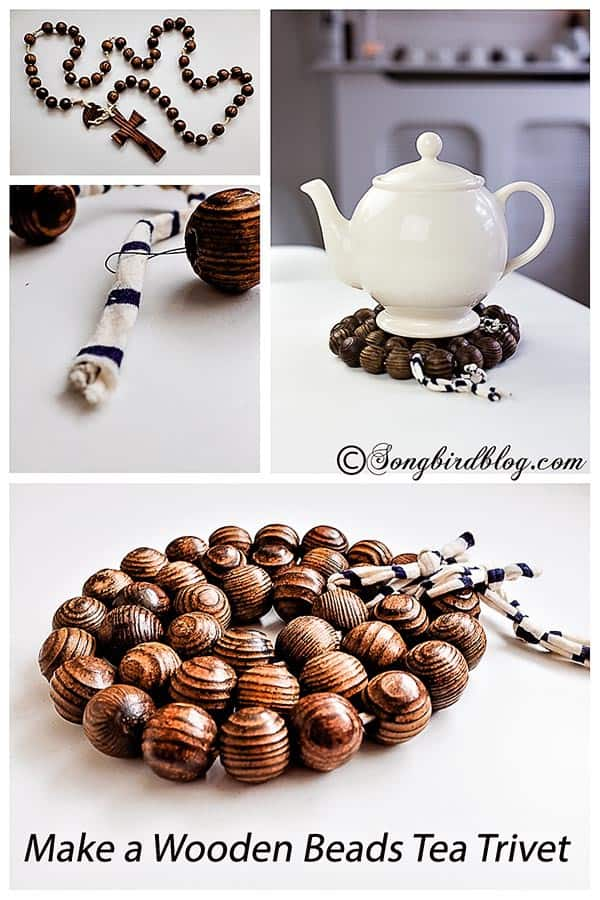 how to make a wooden beads tea trivet