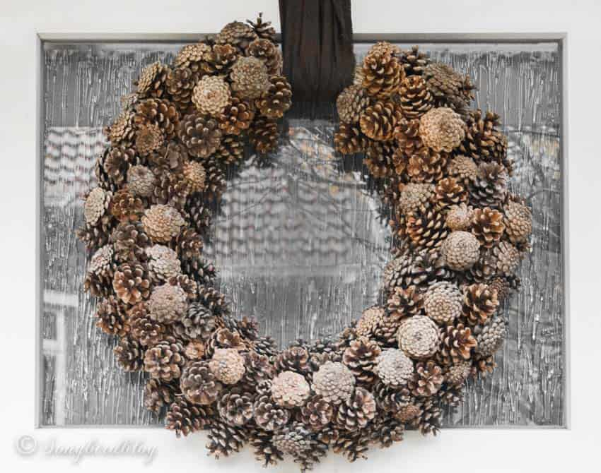 pine cone wreath on front door