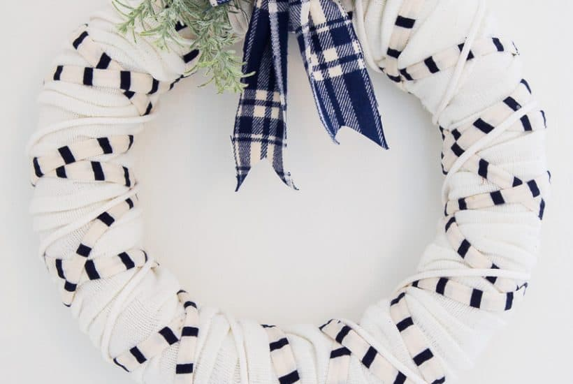 front view of winter scarf wreath in nautical style