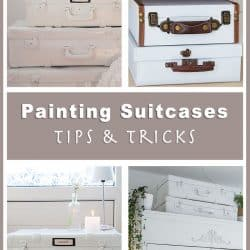 collage with four different painted suitcases