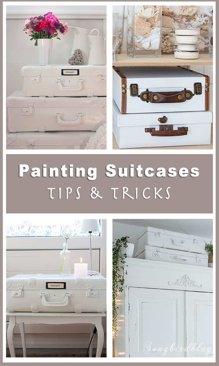How to paint suitcases. Painted suitcases provide beautiful storage options and are lovely decor items. Painting an old suitcase is very easy. Let me show you the steps and give you some tips and tricks.  #vintage #suitcase #painting #organization #diy #tips #howto #storage